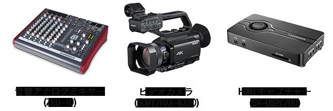 音響アナログミキサー・ビデオカメラ・HDMIキャプチャー